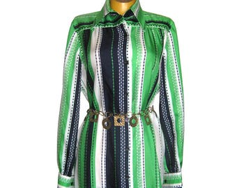 Vintage Nat Kaplan Couture Shirtwaist Dress / Kelly Green and Navy Blue Silk Twill Dress / I. Magnin