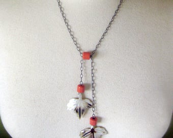 Vintage Lariat Style Necklace with Mother of Pearl Leaf Drops / Abalone Shell Leaves / Coral Beads