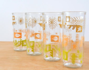 Vintage Nature Inspired Tumblers • Mid Century Glasses Set of 4 • Modern Nature Jelly Glass