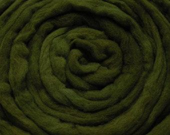 210g Acid Dyed Merino D'Arles Wool Top -  Dark Olive