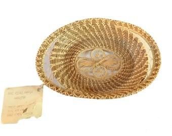 Pine Needle Basket | Delicate Basketry Art | Fine Craftsmanship | Vintage Rustic Home Decor