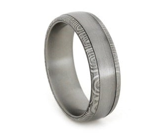 Damascus Ring Featuring Brushed Stainless Steel Inlay with Damascus Shoulders Personalized Mens and Womens Wedding Band