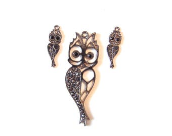 Set of Dark Silver-tone Owl Pendant and Charms Hematite