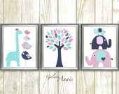 Navy Pink Turquoise Nursery decor Giraffe elephant nursery Room decor Baby Girl Nursery art tree Kids room - Set of 3 Prints