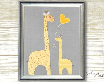 Baby boy nursery kids Room - Baby decor nursery - kids art - kids room decor - boy room - kids Giraffe - I Love You Mommy print