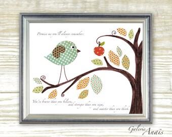 children's art - nursery wall art - baby nursery art - kids art - kids room decor - kids birds - Promise me - Winnie the pooh print