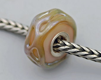 Unique Big Iridized Silver Wrap Bead - Artisan Glass Charm Bracelet Bead (MAY-23)