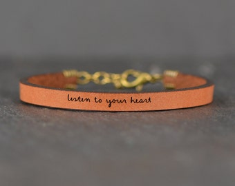 listen to your heart | encouraging gift | graduation gift | motivational bracelet | leather bracelet | jewelry with words | laurel denise