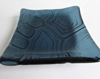 Sea Blue Fused Glass Turtle Shell Imprint Square Plate
