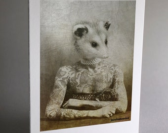 Possum Note Cards, Possum, Animal Note Cards, Notecard, Thank You Card, Note Card, Note Cards, Handmade Note Card Set, Greeting Card