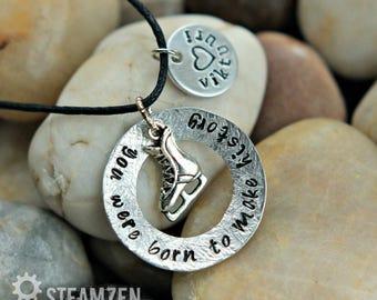 Yuri On Ice You Were Born To Make History Hand Stamped Hammered Necklace - Viktuuri Love Team - Yuri On Ice Fandom - Anime Fan Gift