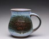 handmade coffee mug, ceramic tea cup, pottery mug with orange shino and wood ash glazes