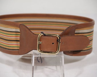 Authentic BATTISTONI ROMA VINTAGE Canvas and Leather waist belt size 70