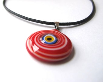 Red and white  Evil Eye Pendant Necklace