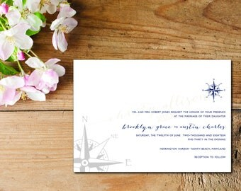 The Compass Invitation–Thermography and Foil Printing Available