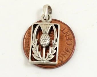 Vintage Scottish Thistle Pendant, Thisle Charm, Sterling Silver, 925 Silver, Scottish Pendant, Small Pendant, Vintage Thistle Jewelry