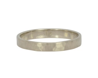 14K Palladium White Gold Wedding Ring, 3mm Hammered Matte Eco Friendly Ring, any size available, Sea Babe Jewelry