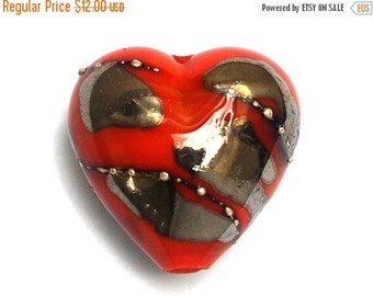 ON SALE 40% OFF Electric Orange Metallic Heart Focal Bead - Handmade Glass Lampwork Bead 11819505