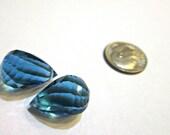 Sale -  Luxe AAA+  London Blue Topaz Gemstones - Matching Pair - Spiral Cut Briolettes -  Earring Pair
