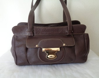 Kate Landry Boston bag,  top zip satchel, bag, purse thick Italian leather pockets studs dual handles vintage 90s pristine condition