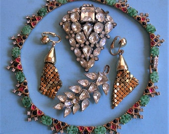 Vintage Antique Rhinestone Pin, Rhinestone Clip, Earrings, and Necklace Steampunk Jewelry DIY Jewelry