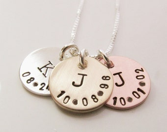 Personalized Necklace - Little Initial Necklace - Hand Stamped Necklace - Mother's Jewelry