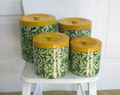 Vintage Canister Set, Daisy Canister Set, Flower Canisters, Retro Canister Set, Retro Kitchen, Yellow Canister Set