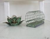 Pair Vintage Floral Frogs, Metal Flower Frogs, Vintage Garden, Lily Flower Frog, Green Floral Frog, Flower Arranging