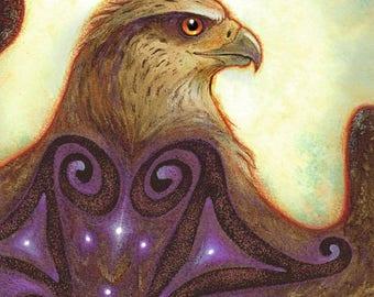 CELESTIAL MESSENGER ※ Red Tail Hawk Feathers Hazelnut Celtic Goddess Spiral Gold Purple Stars Art Print