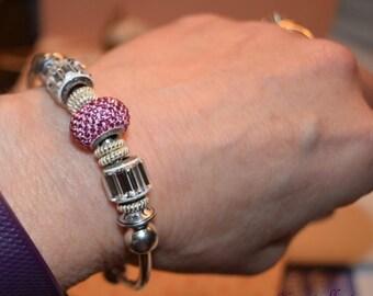 More Colors Large Hole Swarovski Crystal BeCharmed Birthstone Favorite Color Bracelets, Baguette Fancy Stone, Pavé Charm Bead, Bead Bracelet