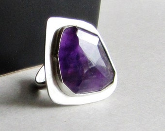 Modern Amethyst Statement Ring - Size 8  - February Birthday - February Birthstone Jewelry - Ultraviolet - Pantone 2018