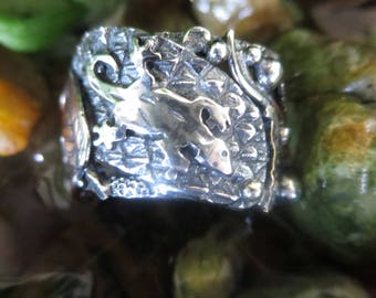 Sterling Silver, Brutalist Mixed Metals Collage Ring 7.5