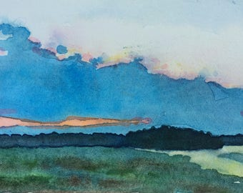 Original watercolor painting Divergent Paths II wall art by Paige Smith-Wyatt