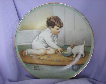 """Bessie Pease Gutmann-""""Kitty's Breakfast""""-Collector Plate-Childhood Reflections"""