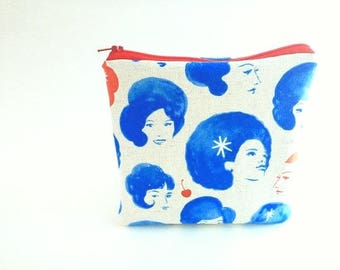 Rockabilly cherries clutch, padded zipper pouch, retro 60's clutch, wallet, vanity storage, makeup bag, travel bag, travel pouch, coin purse