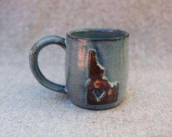 Idaho Ceramic Mug in Stoneware with Blue Speckle Glaze