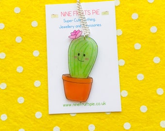 Large super kawaii flowering cactus earrings