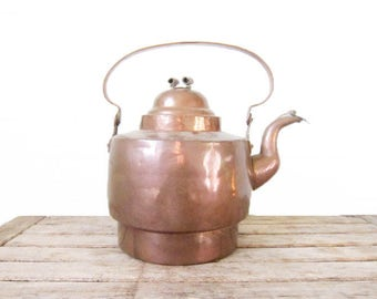 Vintage Copper Teapot - Rustic Tarnished Early Copper Tea Kettle with Handle - Shabby Chic Tea Pot Planter - Upcycled Rustic Decor