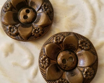 Vintage Button-2 matching large molded metal, Victorian, bronze and  flower design (feb 119-17)