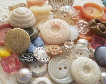 Vintage Buttons - Cottage chic mix of assorted pastel  lot of 44 old and sweet(feb 121 17)