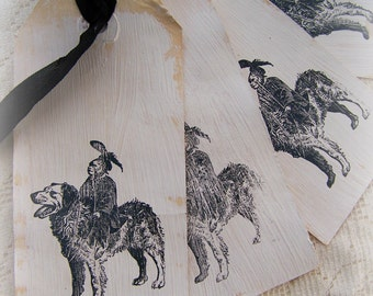 Set of 4 Handmade French Gift Tags Shabby White Tags Vintage Dog Shabby White Decor Cottage Style Shabby White Decor All Occasion Tags