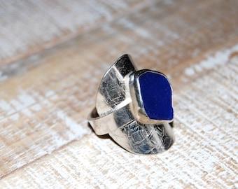 Cobalt Blue Seaglass Saddle Ring- Ready to ship