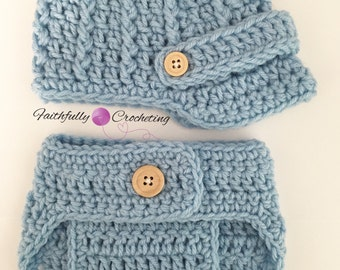 Newborn newsboy hat.. brim hat... diaper cover... photography prop.. ready to ship.. blue baseball hat