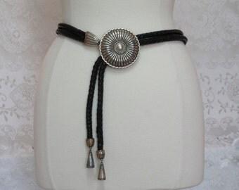 Vintage Braided Leather Belt, Black Braided Belt, Adjustable Leather Belt, Silver Medallion Belt, Double Braided Belt, Narrow Leather Belt