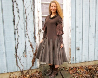 Reconstructed Mori Girl Brown Tea Length Swing Dress// Medium Large// Altered Clothing// Cowgirl// emmevielle