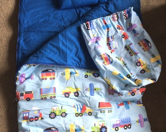 SALE Personalized  Boys Toddler Camping Daycare Preschool Trains, Planes and Trucks Sleeping Bag