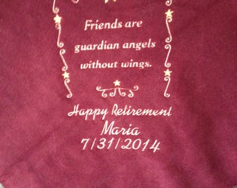 Personalized Embroidered Fleece Throw Blanket Retirement Friendship Gift 50 x 60