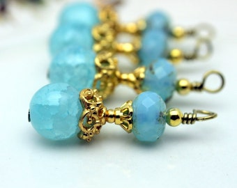Vintge Style Seafoam Blue Crystal with Ornate Gold Bead Dangle Charm Drop Set - Earring Dangle, Charm, Drop, Pendant