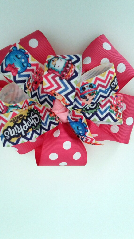 "Shopkins Bow, Handmade Bow, Girls Bow, Toddler Bow, Tween Bow, Birthday Bow, Party Bow,Pink Chevron Bow,  5 "" Bow"