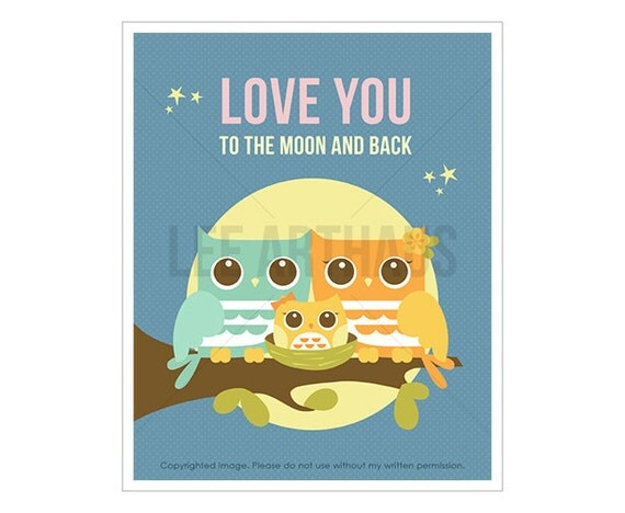 14T Owl Nursery Print - Love You to the Moon and Back - Moonlight Owls with Girl Owl Wall Art - Woodland Nursery Decor - Inspirational Quote